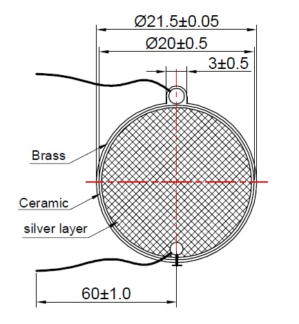 Piezo Element, dia. 21.5mm, Brass
